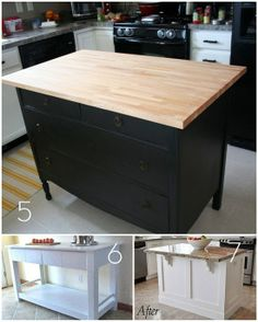 Love the dresser idea! Add casters to make it mobil? DIY kitchen islands- what if you use a dresser like the first pic and make the sides look like the last one. Ten the drawers on the one side for storage. Love that idea.