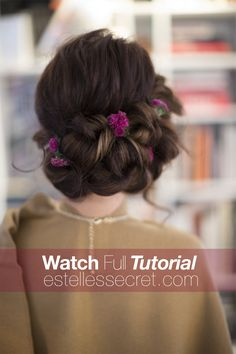 This romantic updo hairstyle is perfect for a Christmas wedding or party. It might look slightly complicated at first glance. But, we promise it's not! Join us while we show you how to achieve this stunning look in just a few simple steps.  Watch the full tutorial on our hair blog over at EstellesSecret.com #christmashair #updo #hairtutorials #romanticupdohairstyle