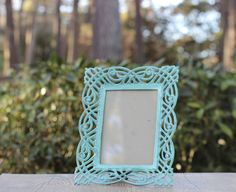 """Vintage Rosenthal Netter 5"""" x 7"""" Iron Picture Frame / Verdigris Picture Frame / Aqua Picture Frame / Ornate Iron Filagree Picture Frame by theretrobeehive on Etsy https://www.etsy.com/listing/495120762/vintage-rosenthal-netter-5-x-7-iron"""