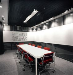 white board across boardroom- eliminates need for easel and creates modern look-- could integrate telecommunications (TV etc.) into this unit as well for presentations