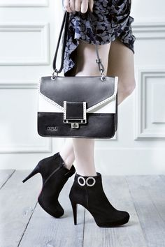 Booties, bag, black & white