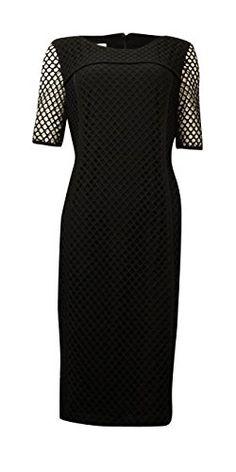 Anne Klein Womens Short Sleeve Mesh Sheath Dress Black 8 ** BEST VALUE BUY on Amazon