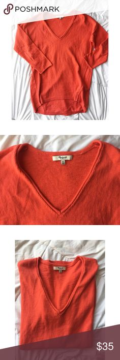Madewell Coral v neck sweater size  XS Adorable Madewell coral color v neck 3 quarter sweater size XS : worn once no flaws Madewell Sweaters V-Necks