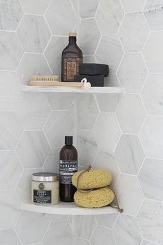 Gray hex #tile for the bathroom #shower with built-in shelves