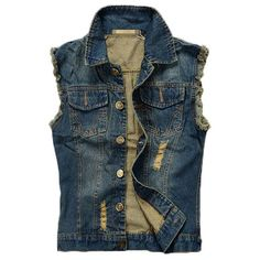 Denim Blue Slim Fit Plus Size Holes Ripped Washed Stone Chest Pockets Vest for Men