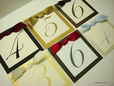 Wedding Table Numbers Elegant Satin Bows and Custom by wedology, $3.00
