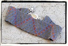 ZIGZAG peyote beaded bracelet cuff in Orange Blue by PicklesandCo