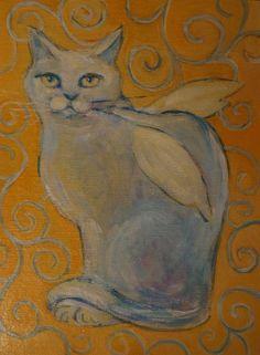 CAT ANGEL (Painting),  18x24 cm przez ANNA  BARDZKA ACRYLIC PAINTING BARDZKA