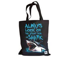 Always look on the bright side of shark - funny black bag for men