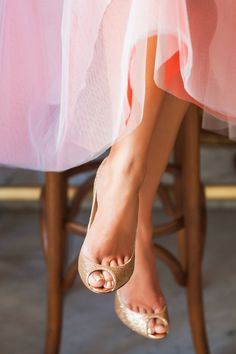 pink tulle skirt + gold christian louboutins