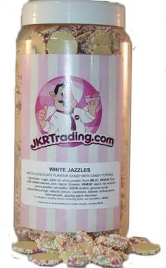 White chocolate Jazzies Snowdrops Sweet Jar Snowies Gems Gift Jar – JKR Trading Sweet Jars, Whey Powder, Jar Gifts, Palm Oil, Chocolate Flavors, White Chocolate, Cocoa, Christmas Gifts, Milk