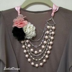 Why buy it when you can make it!!     Multi-Strand Ribbon Necklace- Fabric Flower Necklace, Pink and Ivory Pearl...