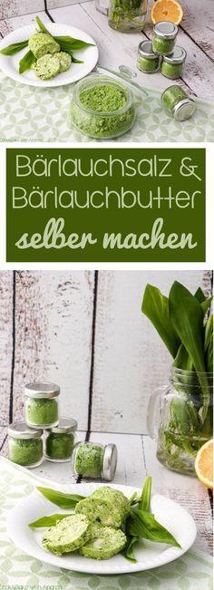 Um möglichst lange was was vom Bärlauch zu haben, habe ich ihn auf zwei verschiedenene Arten konserviert: Bärlauchsalz und Bärlauchbutter selber machen. #bärlauch #frühling #konservieren #haltbarmachen #selbermachen #salz #butter #gewürz #geschenkidee #diy #geschenkausderküche #küchengeschenk