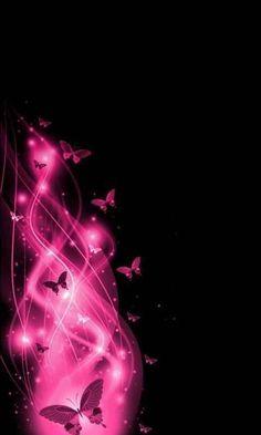 Pink Butterflies On Black Borboletas Unhas Desenhadas Mensagens Desenhos Papel De Parede