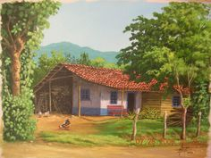Paisaje típico de Costa Rica House Landscape, Fantasy Landscape, Landscape Art, Costa Rica Art, Costa Rica Travel, Beautiful Paintings Of Nature, Canvas Painting Landscape, Country Art, Cool Landscapes