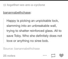Nooooo she could not possibly love Toby at all *sarcasm*