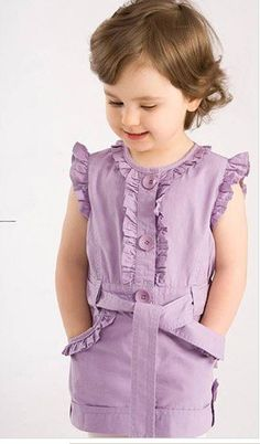 Baby girl's dress with belt baby wear baby suit in stock Girls Summer Outfits, Little Girl Dresses, Kids Outfits, Baby Dresses, Summer Clothes, Kids Clothes Patterns, Baby Girl Dress Patterns, Moda Kids, Baby Dress Design