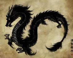 Asian Dragons - the best type of Dragon! i liken myself to a dragon. these mystical creatures are keepers of treasure, spiritual guardians, wise and powerful. Japanese Dragon, Japanese Art, Chinese Dragon Art, Japanese Poster, Fantasy Creatures, Mythical Creatures, Kon Bleach, Akatsuki No Yona, Chinese Artwork