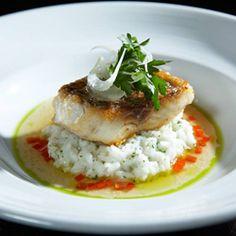 Wild Stripe Bass, Preserved Lemon Rissoto, Tomato Water, Fennel