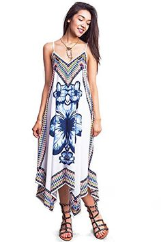 96514328f2a Womens Juniors Boho Tropical Long Dress Large White -- Click image for more  details.