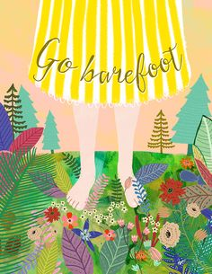 Americanflat 'Go Barefoot' by Mia Charro Framed Painting Print Size: Art Mur, Painting Prints, Art Prints, Illustration Noel, Illustration Children, Going Barefoot, Poster S, Source Of Inspiration, Mother Earth