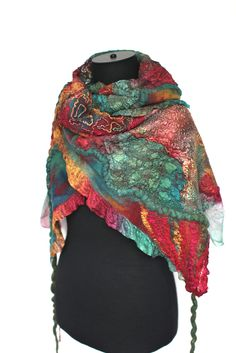 "Super fine Australian merino wool, mulberry silk, silk gauze fabric, silk ponge fabric, cotton gauze fabric, silk yarn. Length 71"" (180 cm) Width 13"" (33 сm) Weight 4,6 oz (131 gm)"