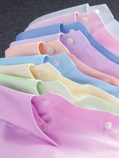 ~ It's a Colorful Life ~ — Collared Oxford Shirts in Bright Pastels Pastel Shirt, Bespoke Shirts, Formal Men Outfit, Men Dress, Shirt Dress, Pretty Pastel, Gentleman Style, Casual Shirts, Shirt Designs