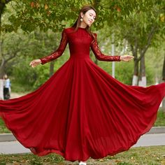 This Lace chiffon maxi prom dresses is one of the perfect outfit for the any party. get up to discount & enjoy our weekend offers! Prom Dresses With Sleeves, Formal Dresses, Red Long Sleeve Dress, Long Dresses, Dress Red, Dress Long, Vestidos Color Rojo, Floryday Vestidos, Chiffon Maxi Dress