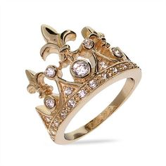 You'll really feel like royalty when you wear this gold plated Fleur de Lis crown ring! $28.80