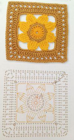 Transcendent Crochet a Solid Granny Square Ideas. Inconceivable Crochet a Solid Granny Square Ideas. Crochet Flower Squares, Granny Square Crochet Pattern, Crochet Blocks, Crochet Flower Patterns, Crochet Diagram, Crochet Chart, Crochet Granny, Crochet Motif, Crochet Designs