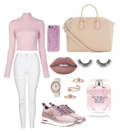 """""""Untitled #51"""" by kristinabt8 ❤ liked on Polyvore featuring Topshop, A.L.C., Givenchy, Victoria's Secret, Casetify, Lime Crime, NIKE, Kendra Scott and Rotary"""