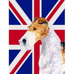 Carolines Treasures SS4920CHF Fox Terrier With English Union Jack British Flag Flag Canvas House Size -- Read more reviews of the product by visiting the link on the image.