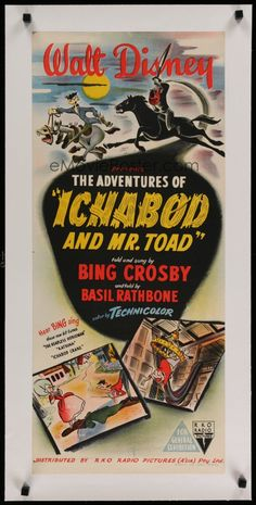 The Adventures of Ichabod and Mr. Wish this would still come on the Disney channel around Halloween like it used to :/ Released October 1949 Vintage Disney Posters, Disney Movie Posters, Classic Movie Posters, Cinema Posters, Disney Films, Disney Cartoons, Vintage Movies, Disney Pixar, Old Movies