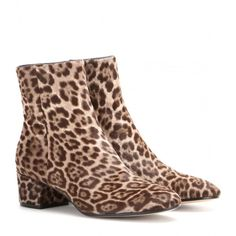 Gianvito Rossi Printed Calf Hair Ankle Boots (983 AUD) ❤ liked on Polyvore featuring shoes, boots, ankle booties, brown, leopard boots, brown booties, calf hair booties, short boots and leopard booties