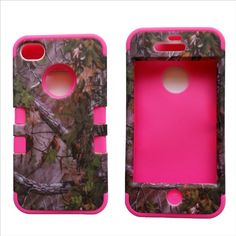 3 in 1 Green and pink Camo iPhone case. Country girl