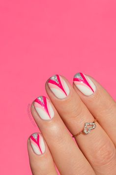 Pink Ribbon nail art. Click through for manicure details. #pink #nailart