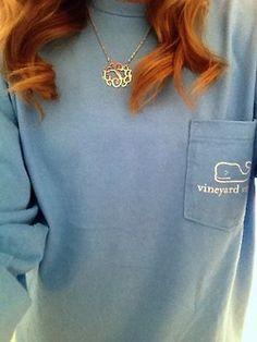 Pastel Vineyard Vines tee with monogram necklace! So simple! LOVE!