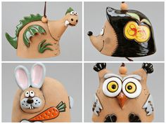 Ceramic Animal Bells Dragon Hedgedog Rabbit Owl by Molinukas, €5.00