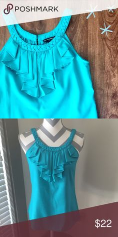 Banana Republic Teal Top This teal Banana Republic Top is perfect for summer! Lovely detailing around the neckline. 100% polyester  Need any other information? Measurements? Materials? Feel free to ask! Don't be shy, I always welcome reasonable offers! Fast shipping! Same or next day! Sorry, no trades!  Happy Poshing!☺️ Banana Republic Tops