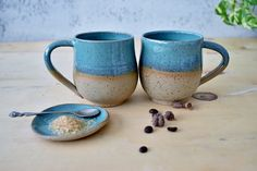 Pottery Coffee mugs Set - Set of Two Large Turquoise Mugs, Tea stoneware cup, Ceramic Mugs Pair set, Father's Gift Pottery Mugs, Ceramic Pottery, Pottery Art, Pottery Ideas, Coffee Mug Sets, Mugs Set, Ceramic Clay, Porcelain Ceramics, Xmas Gifts For Mom