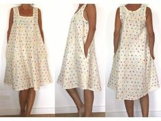 Sewing Pattern - Women Dress with square collard and pockets in the seam ( looks like pj's! Diy Clothing, Sewing Clothes, Clothing Patterns, Dress Patterns, Sewing Patterns, Dress Sewing, Diy Fashion, Fashion Outfits, Couture Sewing