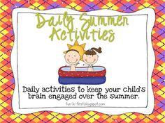 Fun in First Grade: Summer Activity Calendar