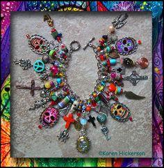 DIY Inspiration - Sugar Skull Talisman Charm Bracelet With Skull Locket - Karen Hickerson  #DayoftheDead