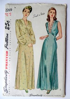 Vintage Simplicity 2269 1940s nightgown by momandpopcultureshop, $26.00