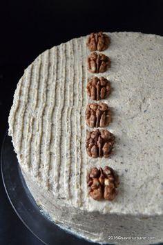 Tort cu nuca - reteta nostalgica   Savori Urbane Romanian Desserts, Romanian Food, Romanian Recipes, Sponge Cake, Food Cakes, Sweet Cakes, Frosting, Cake Recipes, Sweet Treats