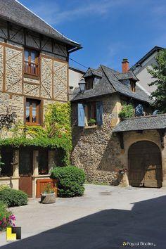 Medieval village of Sainte-Eulalie d'Olt, situated on the left bank of River Lot, France