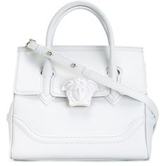 Versace \'Palazzo Empire\' Bag ($2,046) ❤ liked on Polyvore featuring bags, handbags, real leather bags, versace, white handbags, white leather handbags and leather bags
