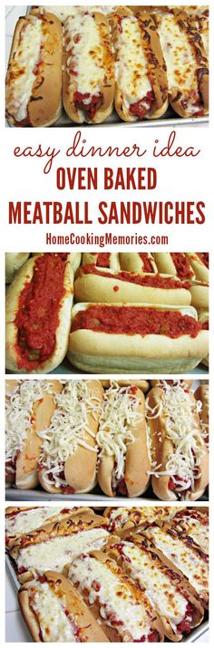 Oven Baked Meatball Sandwiches -- an incredibly easy dinner idea. What's not to love about meatballs and melted mozzarella cheese. for a crowd Easy Dinner Idea: Oven Baked Meatball Sandwiches Recipe I Love Food, Good Food, Yummy Food, Delicious Meals, Oven Baked Meatballs, Turkey Meatballs, Veggie Meatballs, Meatball Bake, Meatball Sub Bake Recipe
