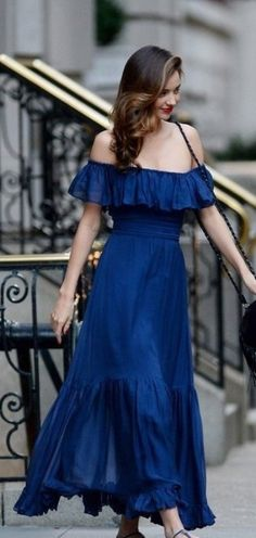 Miranda Kerr, off shoulder blue chiffon dress