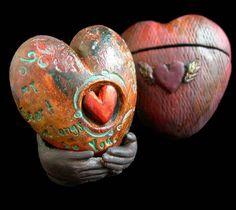 Tejae's polymer clay encased heart.